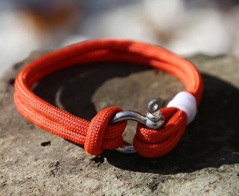 Ladies Burnt Orange Rope Shackle Bracelet