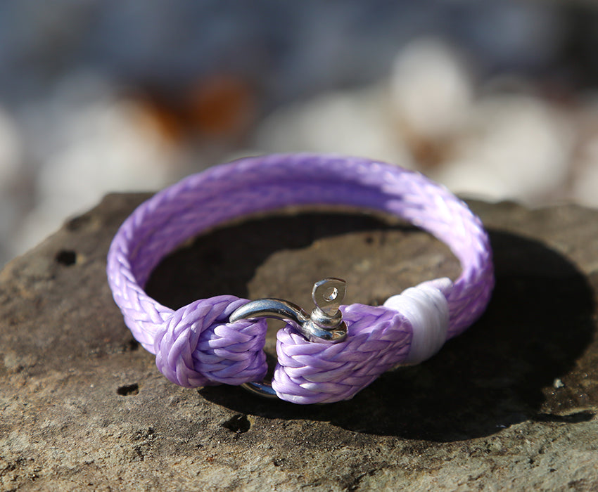 Ladies Lilac Rope Shackle Bracelet
