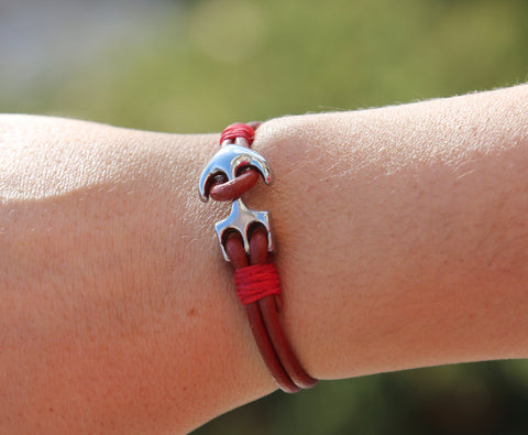 Ladies Red Leather Anchor Bracelet