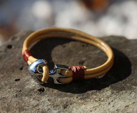 Ladies Tan Leather Anchor Bracelet