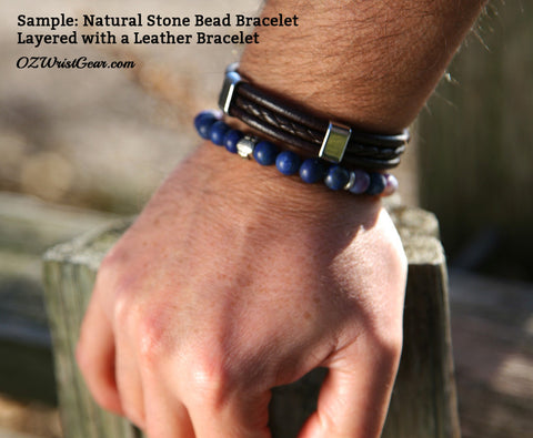 Natural Stone Bead Bracelet Layered with a Leather Bracelet 1