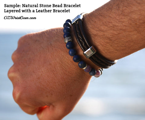 Natural Stone Bead Bracelet Layered with a Leather Bracelet 2