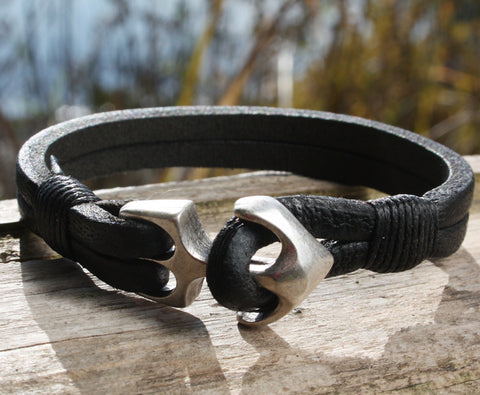 Black Buffalo Leather Bracelet with an Anchor Clasp