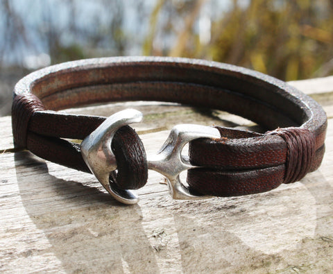 Brown Buffalo Leather Bracelet with an Anchor Clasp