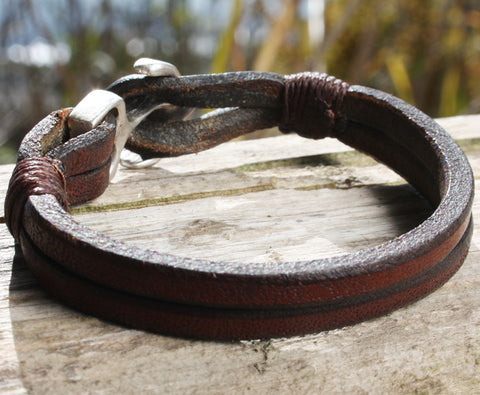Brown Buffalo Leather Bracelet with an Anchor Clasp 3