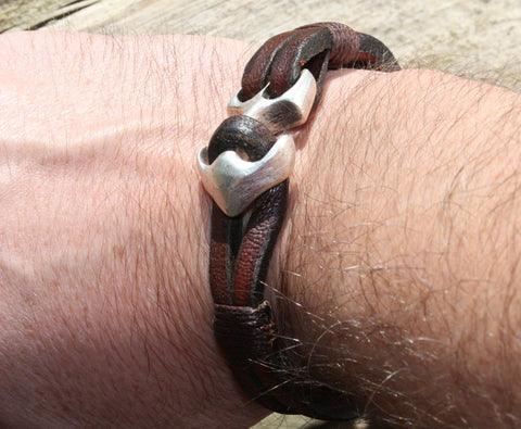 Brown Buffalo Leather Bracelet with an Anchor Clasp 4
