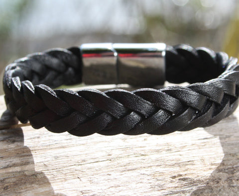 Black Thick Braided Leather Bracelet with a Sliding Magnetic Clasp