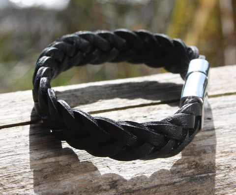 Black Thick Braided Leather Bracelet 2