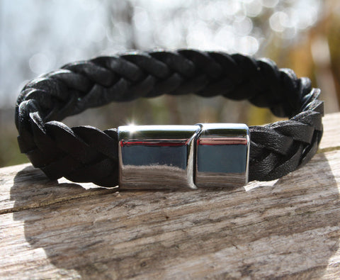 Black Thick Braided Leather Bracelet 3
