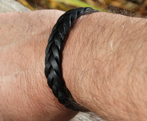 Black Thick Braided Leather Bracelet 4