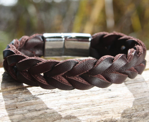Brown Thick Braided Leather Bracelet with a Sliding Magnetic Clasp