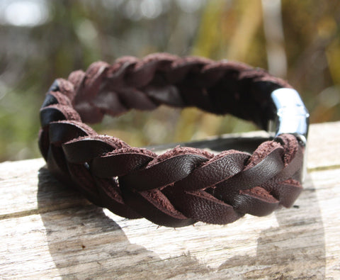 Thick Braided Brown Leather Bracelet 2