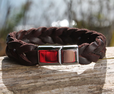 Thick Braided Brown Leather Bracelet 3