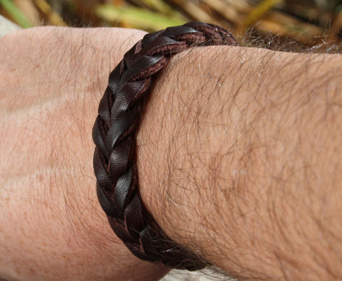 Thick Braided Brown Leather Bracelet 4
