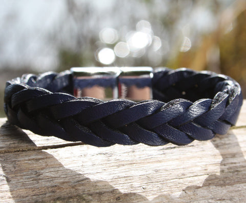 Navy Blue Braided Leather Bracelet with a Sliding Magnetic Clasp