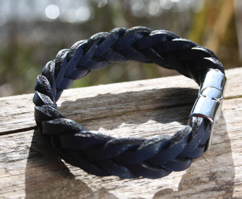 Blue Braided Bracelet with Chrome Magnetic Clasp 2