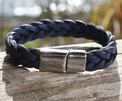 Blue Braided Bracelet with Chrome Magnetic Clasp 3