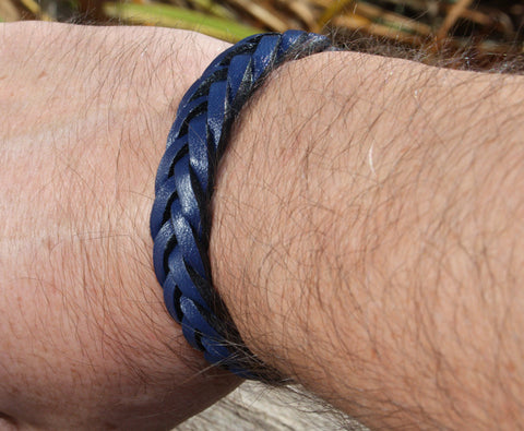 Blue Braided Bracelet with Chrome Magnetic Clasp 4