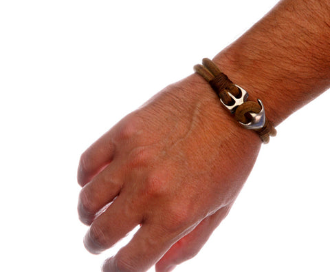 Natural Brown Leather Bracelet with Silver Plated Anchor Clasp 2