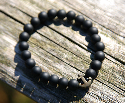 Black Onyx Natural Stone Anchor Bracelet