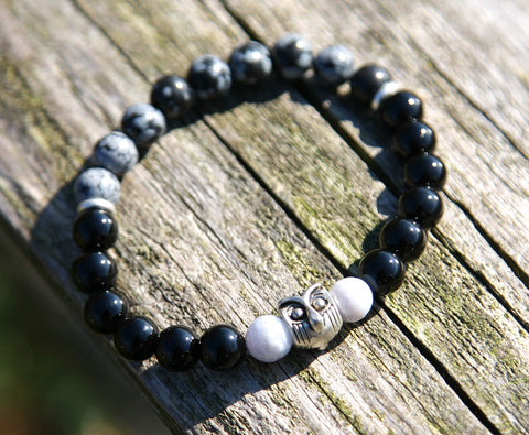 Moonstone and Owl Natural Stone Bracelet