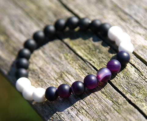 Amethyst and Coral Natural Stone Bracelet