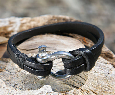 Black Leather Bracelet with a Nautical Grade Omega Shackle Clasp