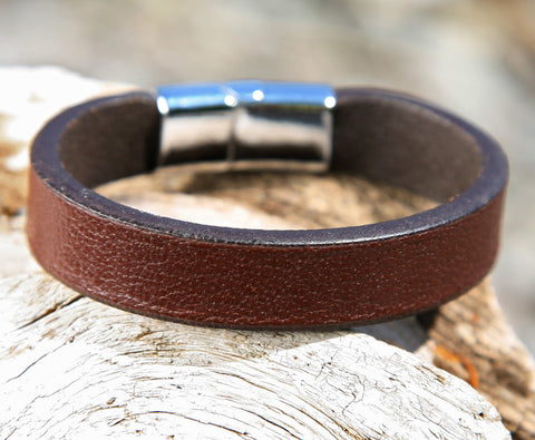 Brown Leather Cuff Bracelet with a Sliding Magnetic Clasp