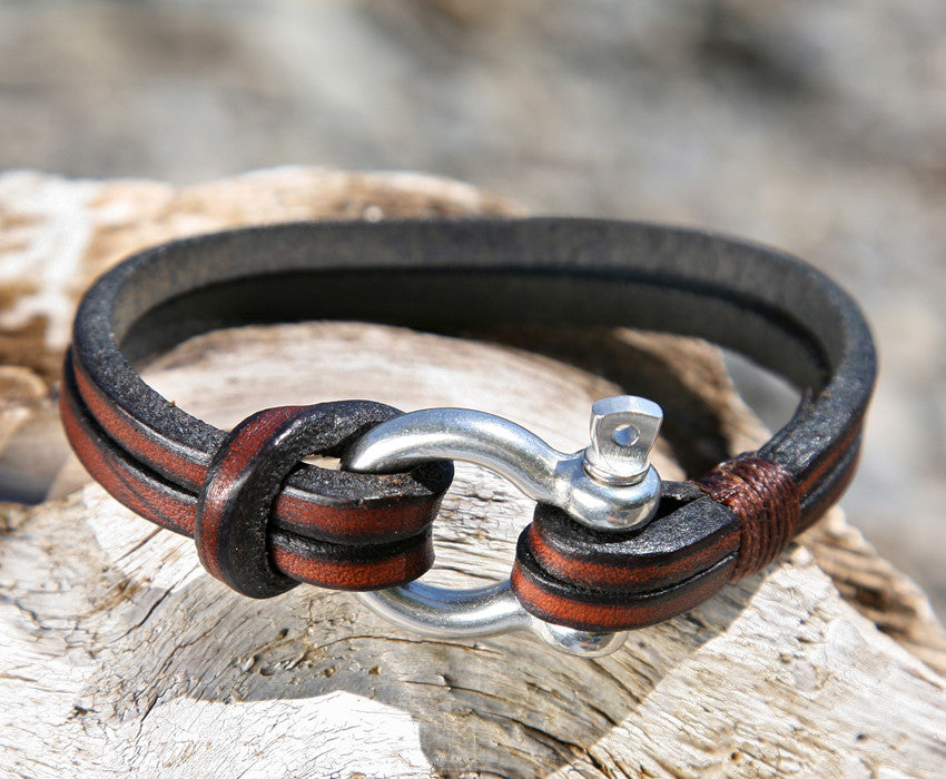Mens Brown Multistrand Leather Bracelet Shackle Clasp 1