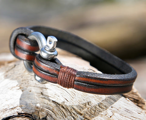 Mens Brown Multistrand Leather Bracelet Shackle Clasp 2