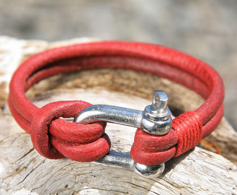 Red Leather Bracelet with a Nautical Grade Omega Shackle Clasp