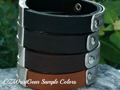 OZ Leather Cuff Bracelet with Personalized Aluminum Plate 3