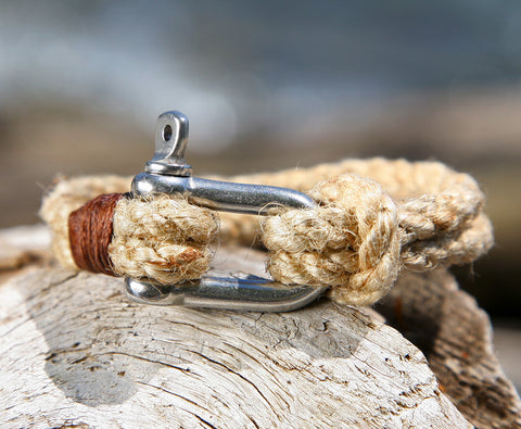 Natural Brown Rope Bracelet with Steel Omega Shackle Clasp 2