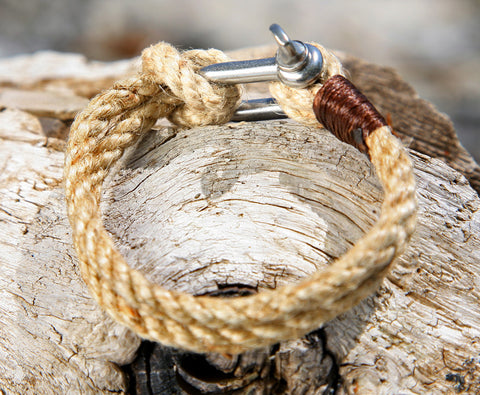 Natural Brown Rope Bracelet with Steel Omega Shackle Clasp 3