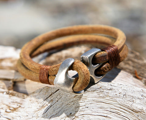 Natural Brown Leather Bracelet with Silver Plated Anchor Clasp 1