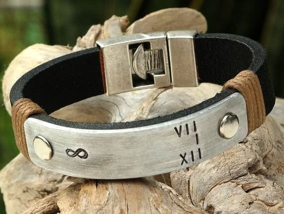 422429ca1970b Leather Cuff Bracelet with Personalized Aluminum Plate and Interlocking  Clasp