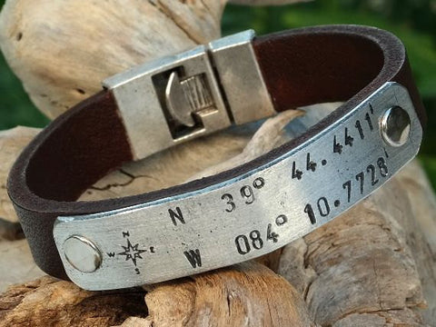 Leather Cuff Bracelet with Personalized Aluminum Plate and Interlock Clasp