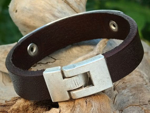 Leather Cuff Bracelet with Personalized Aluminum Plate and Interlock Clasp 2