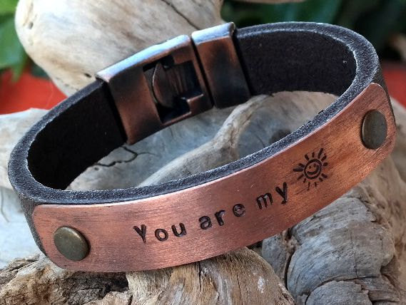 Leather Cuff Bracelet with Personalized Copper Plate and Interlocking Clasp 1