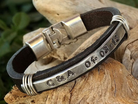 Dark Brown Leather Bracelet with Hand Hammered Personalized Aluminum Plate and Interlocking Clasp