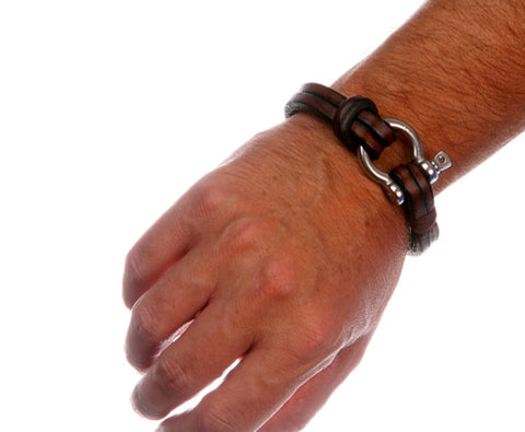 Mens Brown Multistrand Leather Bracelet Shackle Clasp 4