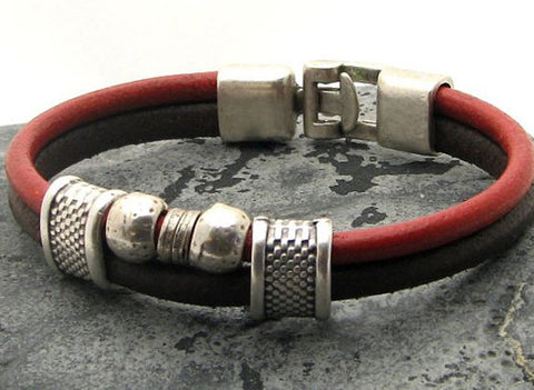 Red and Brown Dual Strand Leather Bracelet with Silver Accents and Interlocking Clasp 1