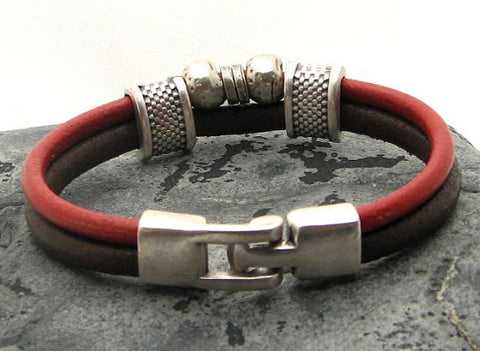 Red and Brown Dual Strand Leather Bracelet with Silver Accents and Interlocking Clasp 3