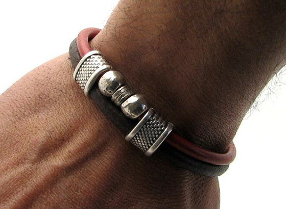 Red and Brown Dual Strand Leather Bracelet with Silver Accents and Interlocking Clasp 4
