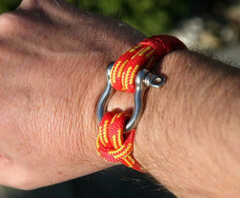 Red and Yellow Nautical Shackle Bracelet 4