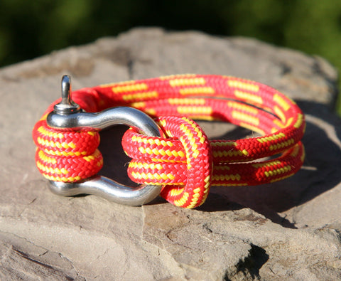 Red and Yellow Nautical Shackle Bracelet 3