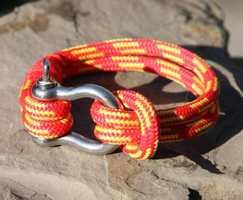 Red and Yellow Nautical Shackle Bracelet 1