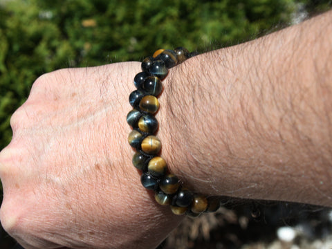 Brown Tiger Eye Natural Stone Dual Layer Bracelet