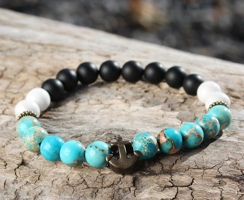Turquoise and Onyx Natural Stone Bracelet