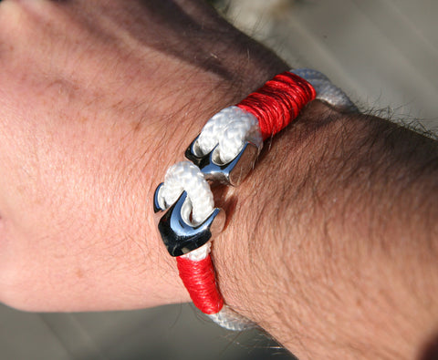White and Red Sailing Cord Bracelet with Chrome Anchor Clasp 4